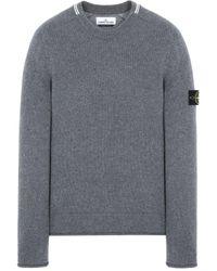 Stone Island Gray Logo Sleeve Sweater for men