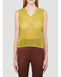 Pleats Please Issey Miyake Yellow V-neck Pleated Tank Top
