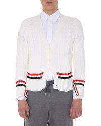 Thom Browne White Rwb Stripe V-neck Cardigan for men