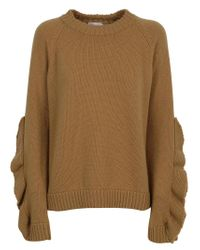 RED Valentino Brown Ruffled Sleeve Chunky Knit Sweater