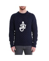 J.W. Anderson - Blue Logo Cableknit Sweater for Men - Lyst