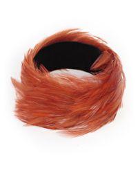 Dries Van Noten Orange Feather Choker