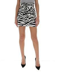 The Attico Black Zebra Print Belted Skirt
