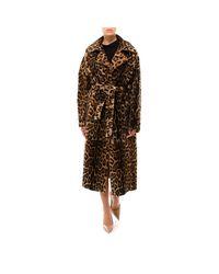 Yves Salomon Brown Leopard Print Clutch Coat