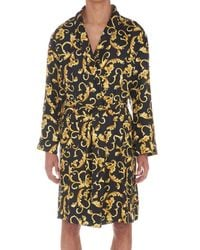 Versace Multicolor Printed Belted Robe for men