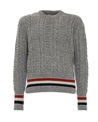 Thom Browne Gray Rwb Striped Knitted Jumper for men