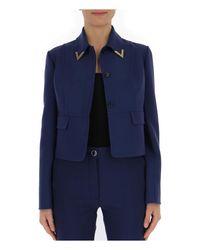 Valentino Blue V Collar Cropped Jacket