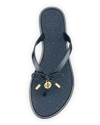 Tory Burch Blue Bow-Detail Thong Sandals
