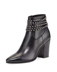 Saint Laurent Black Studded Leather Boots