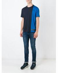Z Zegna Blue Paneled Cotton T-Shirt for men
