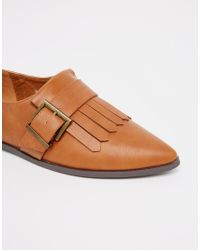 ASOS - Brown Memo Fringe Flat Shoes - Tan - Lyst