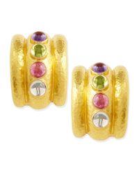 Elizabeth Locke Metallic Pastel Tutti Frutti Amalfi 19K Gold Hoop Earrings