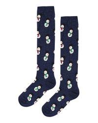 TOPSHOP | Blue Snowmen Glitter Knee High Socks | Lyst