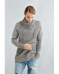 Urban Outfitters - Gray Cable-knit Shawl Sweater for Men - Lyst