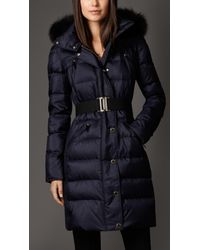 Burberry Blue Fur Trim Puffer Coat