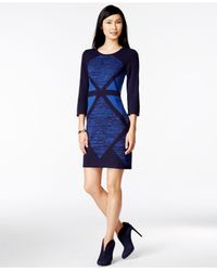 Spense Blue Petite Geo-print Colorblocked Sheath Sweater Dress