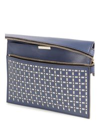 Victoria Beckham Purple Grey Laser Cut Leather Clutch