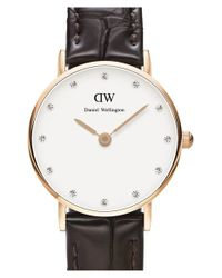 Daniel Wellington | Brown 'classy York' Crystal Index Embossed Leather Strap Watch | Lyst