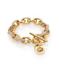 Michael Kors | Metallic Fulton PavÉ Signature Padlock Toggle Bracelet | Lyst