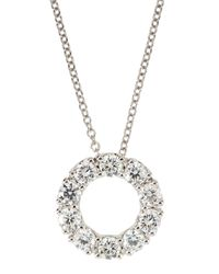 Roberto Coin - Metallic 18K White Gold Necklace With 17Mm Diamond Circle Pendant - Lyst