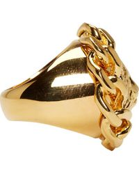 Versus | Metallic Gold Chained Lion Ring | Lyst