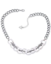 Guess | Metallic Silver-tone Woven Chain Necklace | Lyst