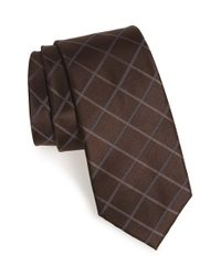 Calibrate | Brown 'leyte Grid' Woven Silk Tie for Men | Lyst