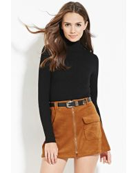 Forever 21 | Black Contemporary Mock Neck Ribbed Sweater | Lyst