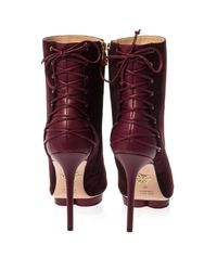 Charlotte Olympia - Red Deborah Lace-Up Ankle Boots - Lyst