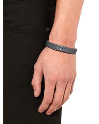 Bottega Veneta | Gray Flat Intrecciato Leather Bracelet for Men | Lyst