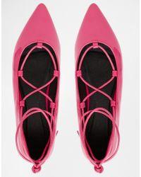 ASOS - Pink Lyric Lace Up Ballet Flats - Lyst