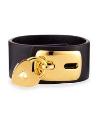 Valentino Black Leather Padlock Cuff Bracelet