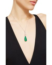 Nina Runsdorf - Green Rose Cut Diamonds Station Necklace With Large Emerald Briolette And Rose Cut Diamond Pendant - Lyst