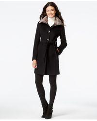 Calvin Klein Gray Faux Fur Wing Collar Coat