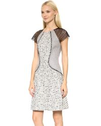 Lela Rose Black Mixed Fabric Block Dress - Ivory/Charcoal