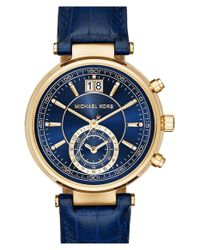 MICHAEL Michael Kors | Blue 'sawyer' Leather Strap Watch | Lyst