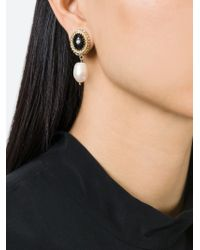 Givenchy Black Faux Pearl Drop Earrings