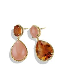 David Yurman | Metallic Double-drop Earrings With Madeira Citrine And Peach Moonstone In 18k Gold | Lyst