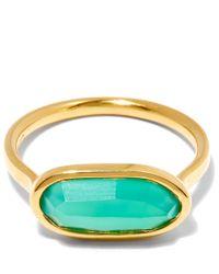 Monica Vinader - Metallic Gold-plated Green Onyx Vega Ring - Lyst