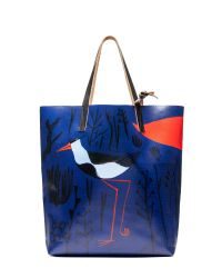Marni | Blue Shopping Bag In Pvc Roger Mello Print | Lyst
