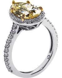 Carat* Pear 3ct Canary Yellow Borderset Ring
