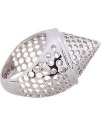 Eddie Borgo Metallic Silver Perforated Aerator Cone Ring