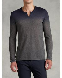 John Varvatos Gray Dip-Dye Split Crewneck Sweater for men