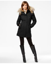 Rudsak Black Real-fur-trim Leather-trim Coat