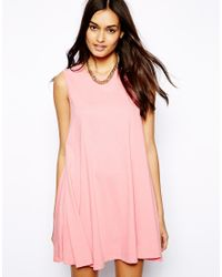 Glamorous | Pink Sleeveless Swing Dress In Flecked Jersey | Lyst