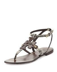 Tory Burch - Brown Phoebe Snake-embossed Leather Sandals  - Lyst