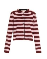 Marni | Pink Striped Cashmere Cardigan | Lyst