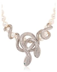 Roberto Cavalli - White Necklace With Swarovski Snakes - Lyst