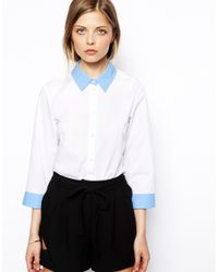 ASOS White Shirt with Contrast Collar Plackets and Cuffs