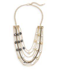 Saks Fifth Avenue - Metallic Mixed Pebble Bib Necklace - Lyst